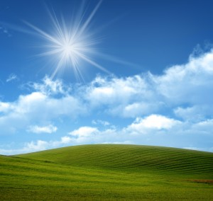 Big Sky with Sun Rays and Grass